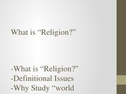 REL 1010- What is Religion, Livingston, chp.1