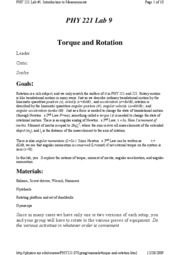 Torque and Rotation