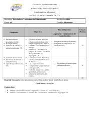 Matriz Prova Global 11ª Classe - 2015.docx