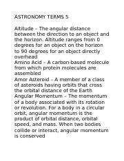 ASTRONOMY TERMS 5