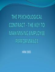 HRM 2005 Lecture 21 Psychological Contract