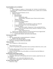 Psych 359 Notes on Mental Disabilities and Late Adulthood