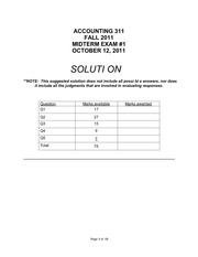 ACCT311 Accounting midterm 1 with solutions 2011