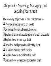 Chapter 6 – Assessing, Managing, and Securing Your Credit