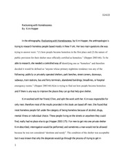 anth 105 reckoning with homelessness essay