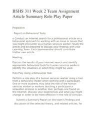 BSHS 311 Week 2 Team Assignment Article Summary Role Play Paper