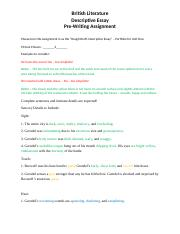Descriptive Writing - Pre-Writing Template