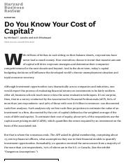 Jacobs_Shivdasani_HBR_2012_Do You Know Your Cost of Capital_