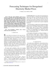 deregulation price forecasting electricity