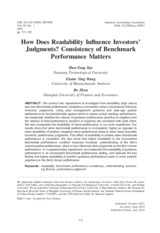 Tan et al 2015 How does readability influence investors judgments
