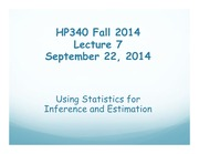 HP340 Lecture 7 - Inferential Statistics
