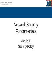 Module 11 Lecture - Security Policy.pptx