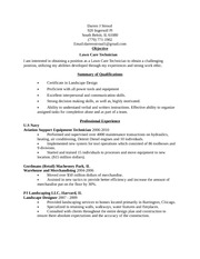 Lawn Care Technician Resume