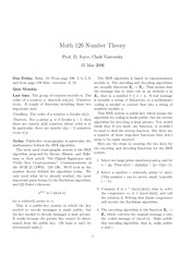 Math 126 Cryptography Notes