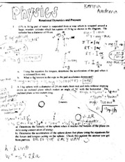 Physics 1 Rotational Dynamics & Pressure Worksheet ( Student Answers)