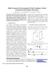 High Frequency Electromagnetic Field Coupling to Small Antennas in Rectangular Resonator