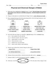 Worksheet - Classification of Matter - Teacher - b sugar and sand ...