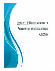 MATB110 Scan Notes Lecture 11 D of Exponential and Log Function Logarithmic Differentiation