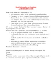 xBasic Information on Nutrition and Food Safety Notes