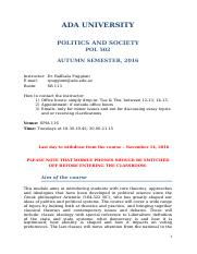Syllabus - Politics and Society - POL 502 (1)