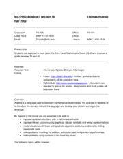 Math 60 Syllabus - Fall 2009