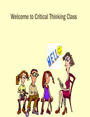Lesson 1 - Introduction to Critical Thinking - Sem 2 - 2016 - For students