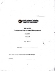 Production Operations Management Exam 1