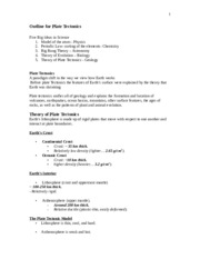 Outline for Plate Tectonics  ES 1100 fall 2014