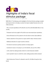 Highlights of Indias fiscal stimulus package_December 2008