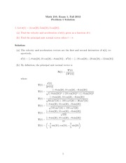 Exam 1 Solution on Calculus III Fall 2012