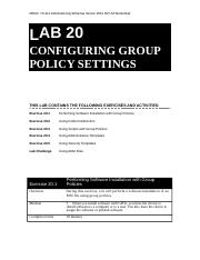 Lab Worksheet Lesson 20 Configuring Group Policy Settings