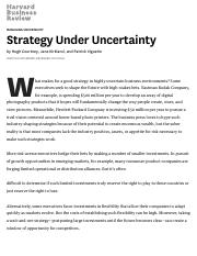 Essential_Strategy Under Uncertainty