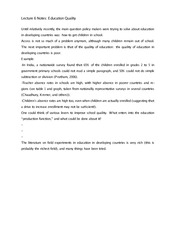 Lecture 6 Notes Education Quality