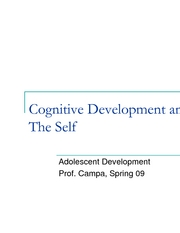 Cognitive Development and the Self