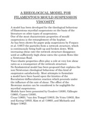 A RHEOLOGICAL MODEL FOR FILAMENTOUS MOULD SUSPENSION VISCOSITY