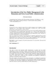 Article 9 Introduction of the New Public Management in the Romanian and Swiss Local Public Administr