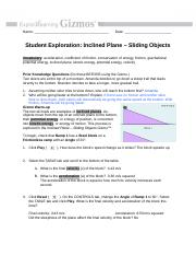 Inclined Plane - Sliding Objects Gizmo - ExploreLearning ...