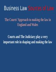 W3 PPT  Sources of Law The Courts Approach