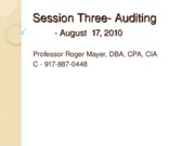 Session Three Auditing Summer 2010
