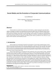Social Media and the Evolution of Corporate Communications