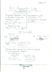 Exponent+log equation notes