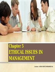 Chapter 5 - Ethical Issues in Management (1)