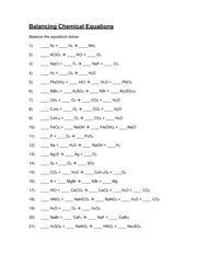 Worksheets How To Balance The Name And Type Of Chemical Reaction Chapter 7 Worksheet 1 balancing chemical equations answer key 1 n 2 3 h nh kclo