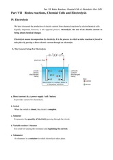 Part 7 Redox reactions, chemical cells and electrolysis _part 2_