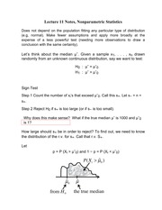 Lecture 11 Notes, Nonparametric Statistics