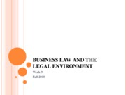 Fall 2010 Business Law and the Legal Environment - Week 9