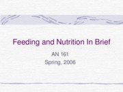 Feeding and Nutrition In Brief