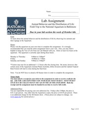 Aquarium Lab assignment