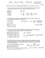 Exam C 1999 Solutions on General Physics