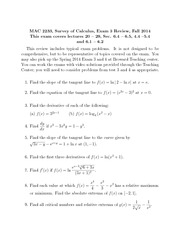 MAC 2233, Survey of Calculus, Exam 3 Review, Fall 2014